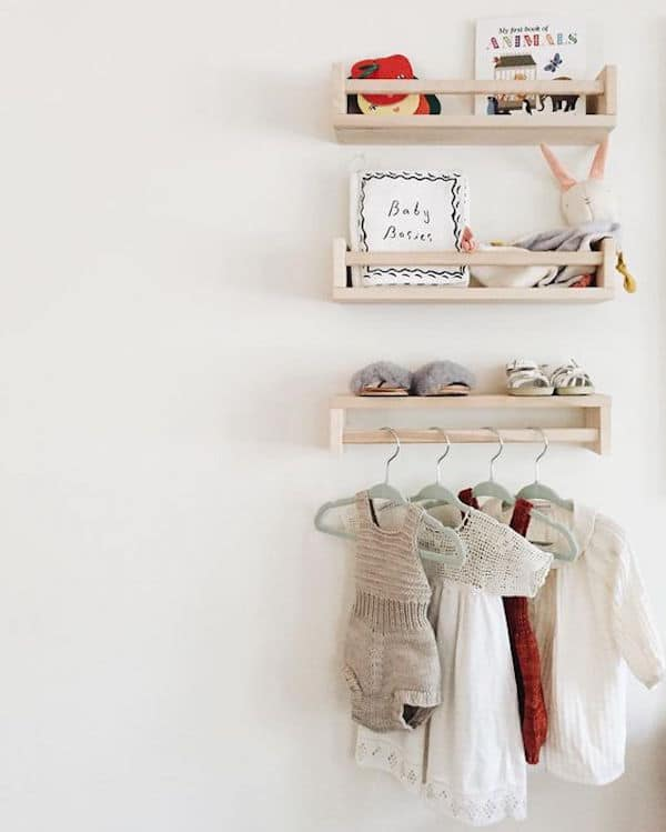 Ikea hack, take the spice rack and use it in a nursery for books and toys, or turn it over and use it to hang clothes.