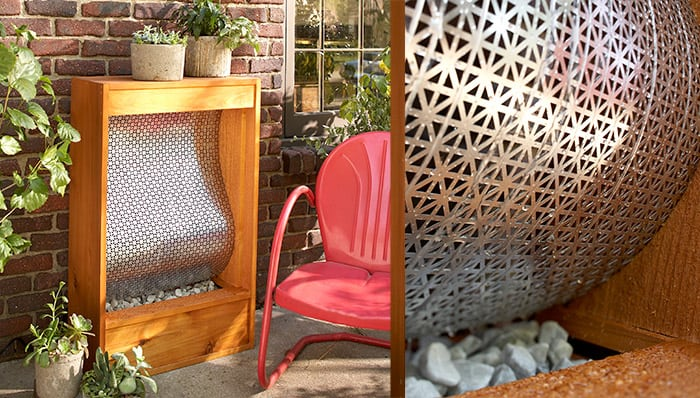 A water feature for your patio using metal radiator cover mesh and wood.