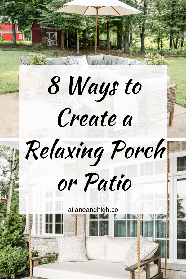 A pin for pinterest on creating a relaxing porch and patio