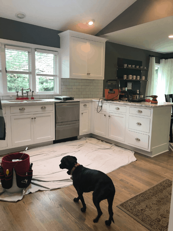 A full kitchen view of the equipment they used to refinish the marble counters.