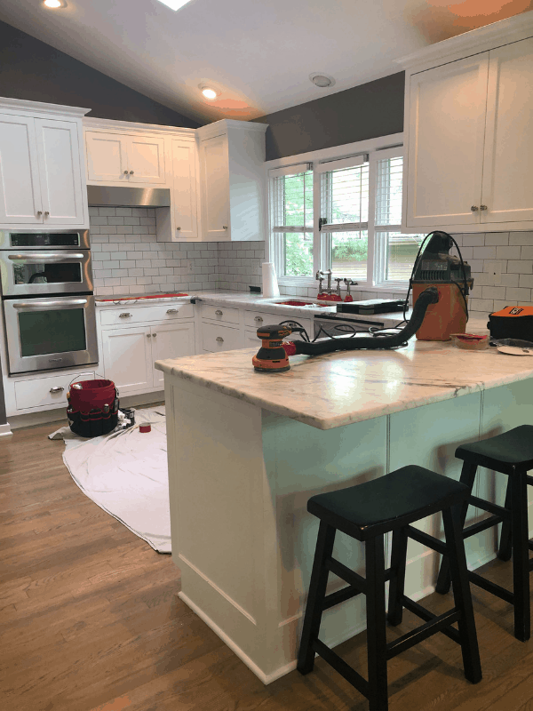 A full view of the tools they used to refinish my marble counters.