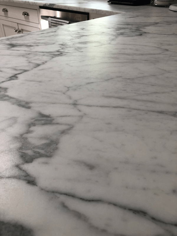 The refinished counters with no marks on them.
