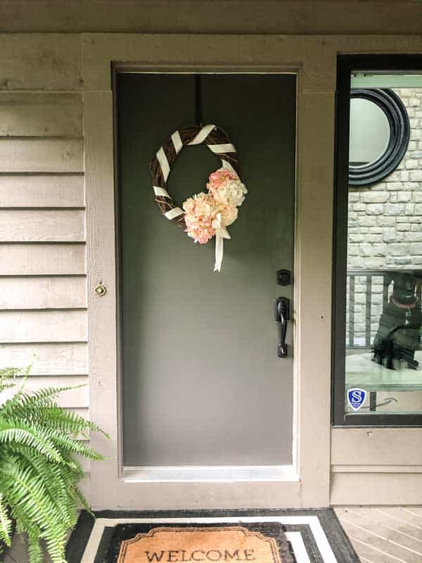 A full view of the hydrangea wreath on the front door.