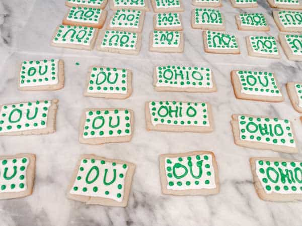 This shows the Ohio sugar cookies I made for the Graduation Party Food.