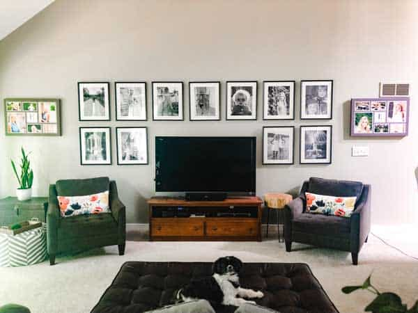 A full view of the gallery wall and my Mom's dog lounging on the ottoman.