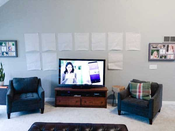 Final gallery wall positions with the paper.