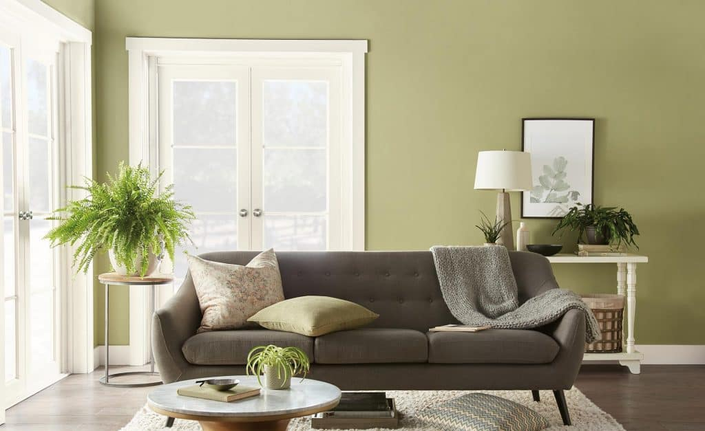 An example of Behr's Back to Nature used in a family room.