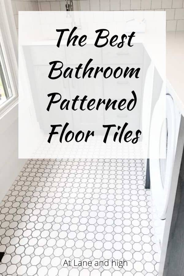 A pin for Pinterest on bathroom patterned floor tiles.