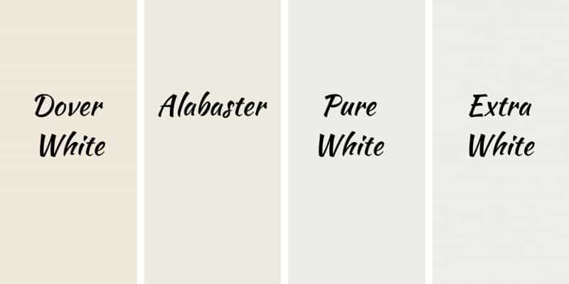 This is a side by side comparison of 4 white colors from Sherwin Williams, Dover White, Alabaster, Pure White, and Extra White.