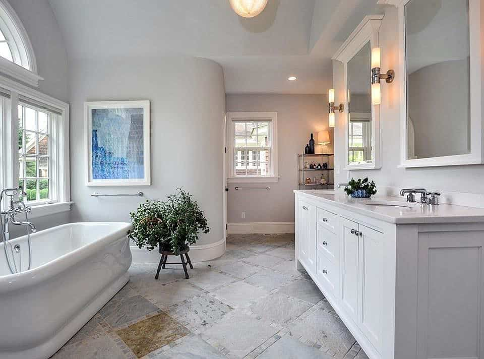 A bathroom painted in Sherwin Williams Agreeable Gray.