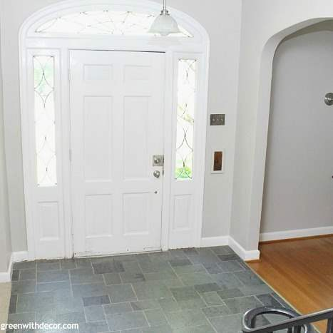 A foyer painted in Sherwin Williams Agreeable Gray.