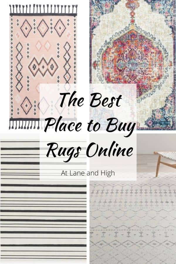 Pinterest Pin with 4 different rugs on it.
