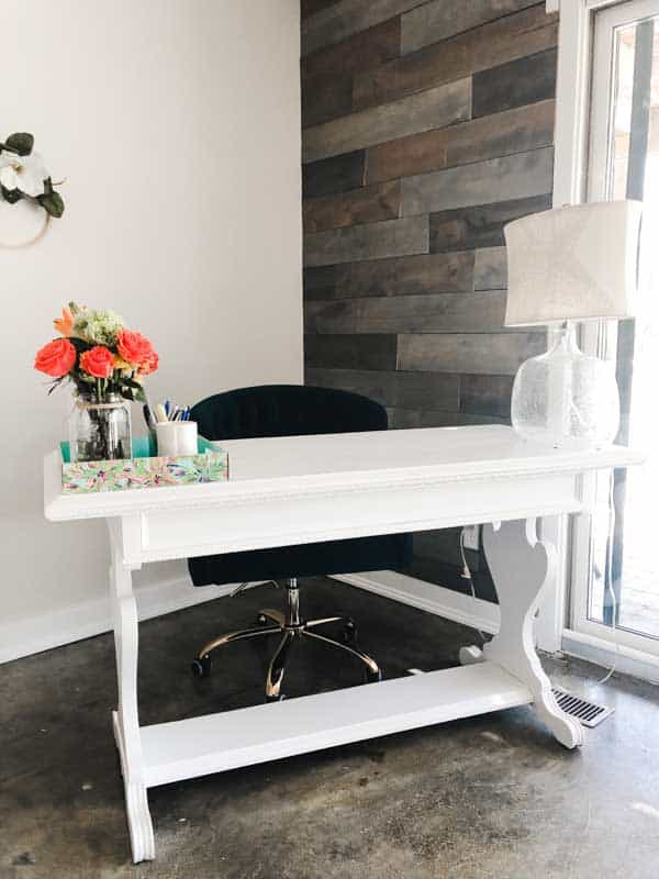 The after picutre of my white painted vintage desk.