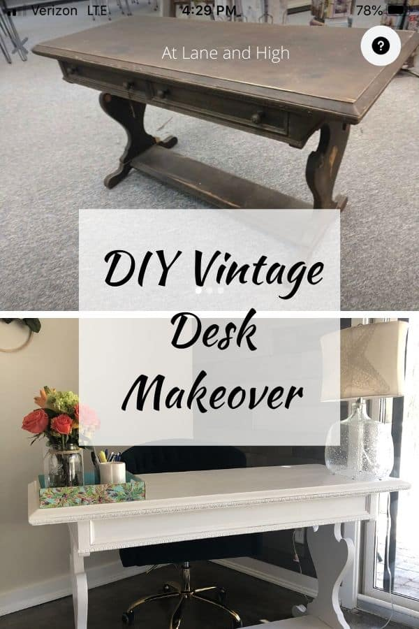 A Vintage Desk Makeover image for Pinterest.
