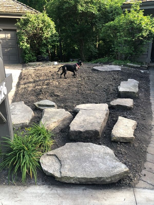 A progress shot of all the stones in place after we have leveled off the dirt, with my dog in the middle.