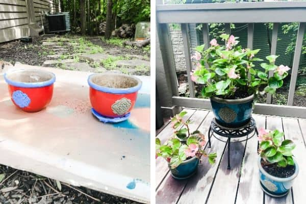 A before and after of how to paint flower pots.