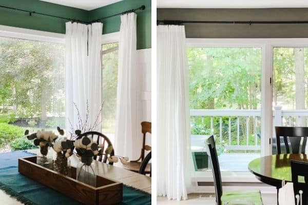 A side by side of my IKEA Ritva curtains hung with a pinch pleat and the other on rings with clips.