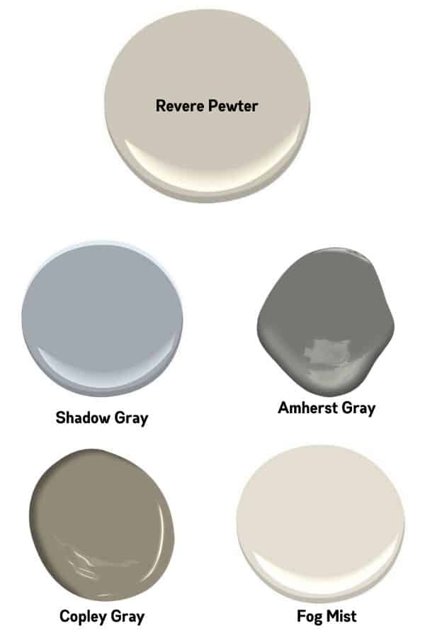 Paint swatches of coordinating colors to Revere Pewter.