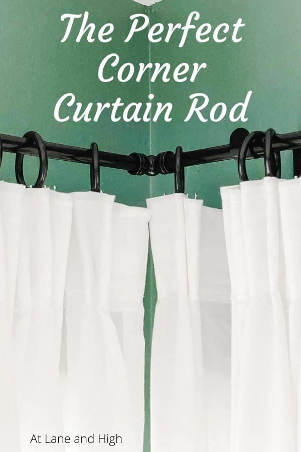A pin for Pinterest showing a corner curtain rod.