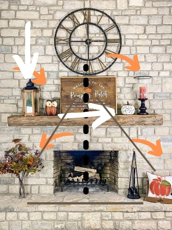 This shows the symmetry of colors on the mantel and hearth.