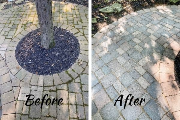 A before and after picture showing how dirty my patio pavers were and how clean they came after power washing and adding interlocking sand.
