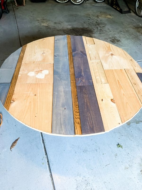 The table faced up after I cut the wood into a circle.