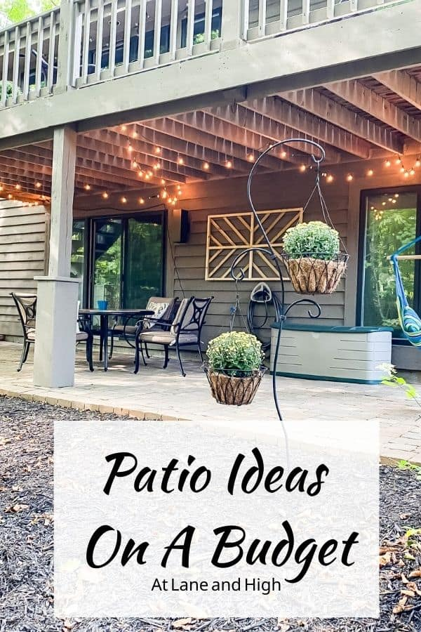 A pin for pinterest of the patio ideas on a budget.