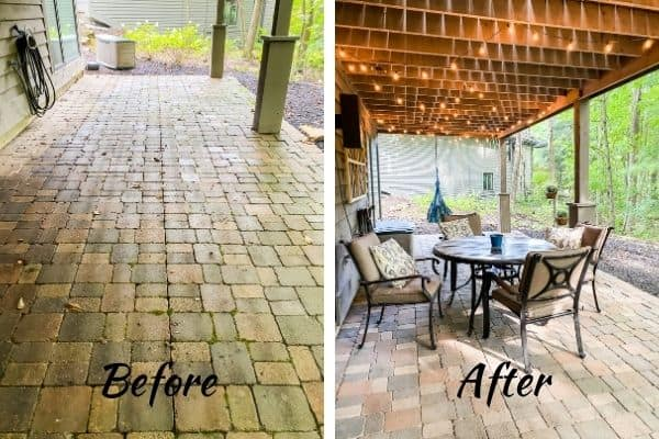 The before and after picture of creating a patio on a budget.