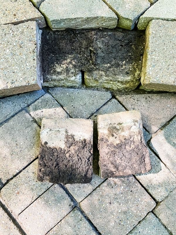 Loose paver steps turned over to reveal the dirt that has gotten into them.