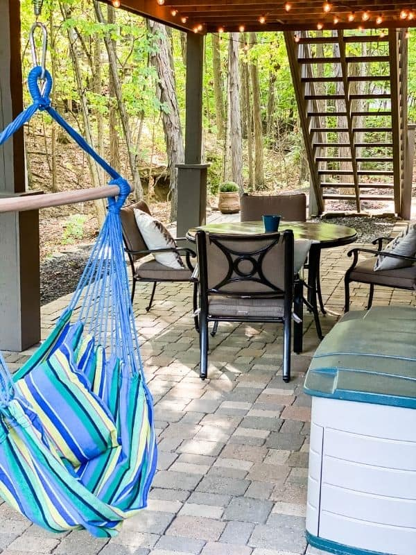 A great view of the hanging seat and the colorful stripes on it.