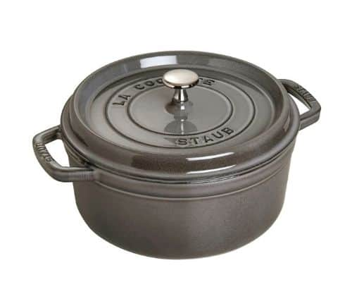 A Staub Dutch Oven in the color gray.