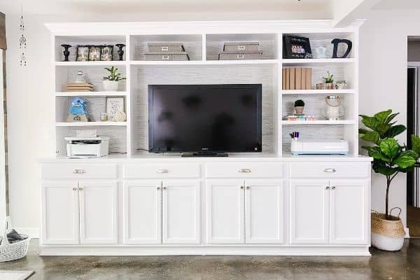 A full view of the entire DIY built-in project.
