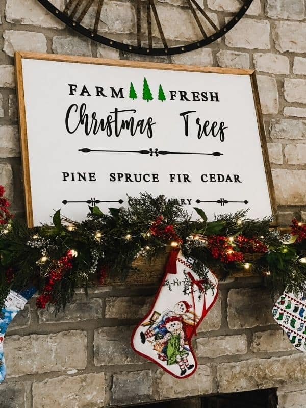 My reversible Fall and Christmas sign that says farm fresh Christmas Trees.
