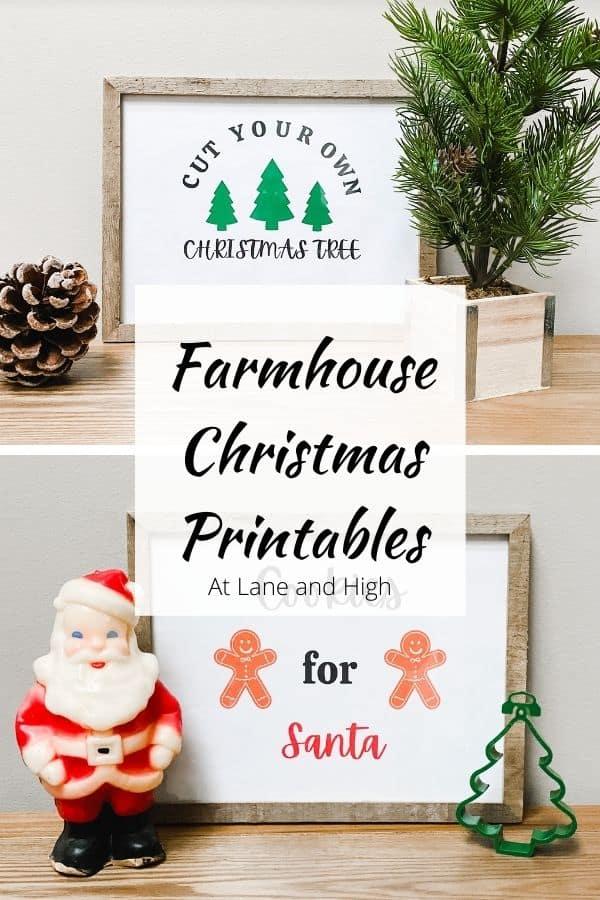 Farmhouse Christmas Printables Pin for Pinterest.