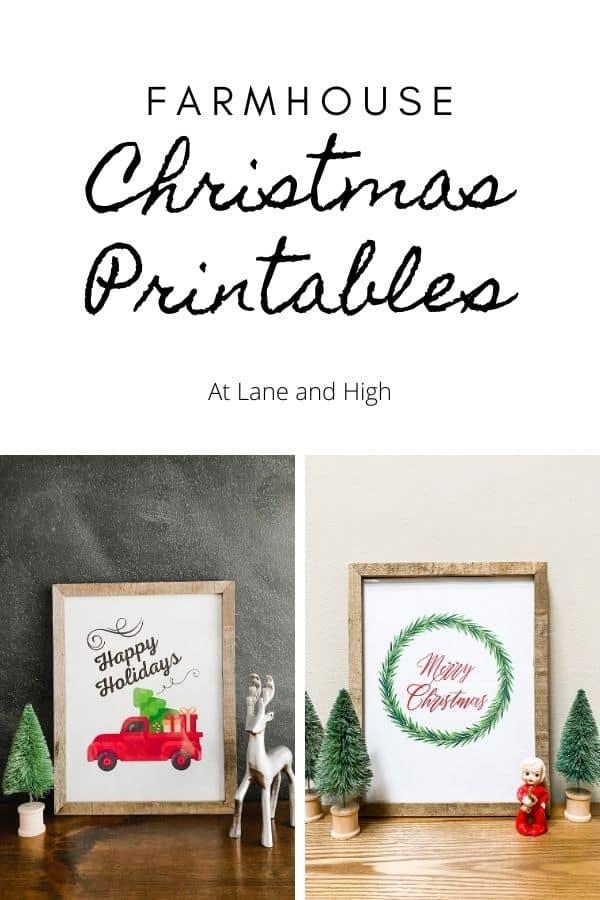 A farmhouse Christmas printable pin for Pinterest.