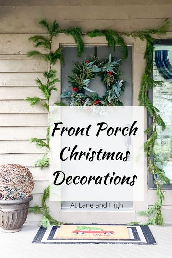 A front porch Christmas decorations pin for Pinterest.