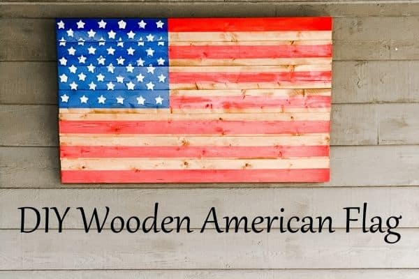 DIY Wooden American Flag hanging on the