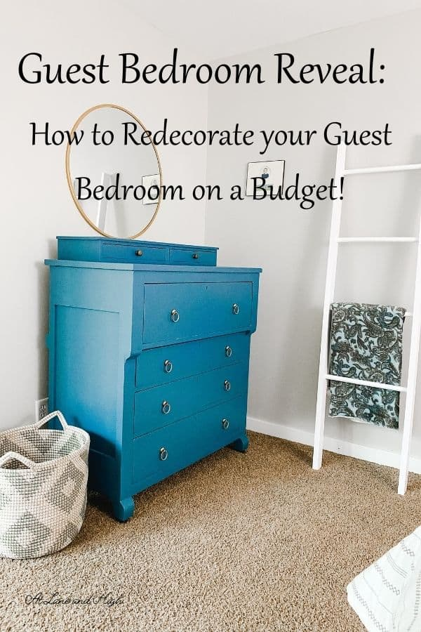 Guest Bedroom Reveal pin for Pinterest.