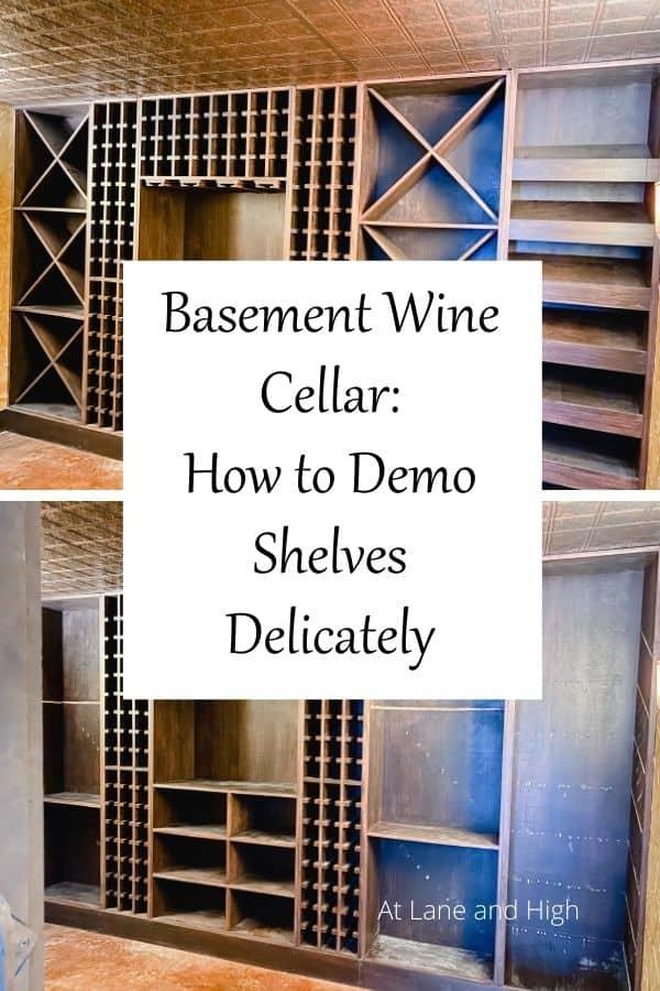 Basement wine cellar pin for Pinterest.