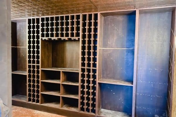 All the shelves removed that we didn't want from our basement wine cellar.