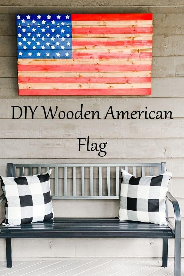 DIY Wooden American Flag pin for Pinterest.