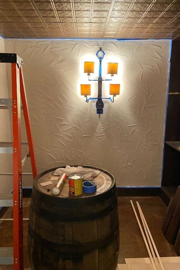 The finished painted walls before aging them with a faux finish.