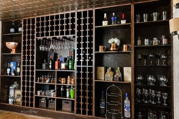The shelves now hold all our glasses, wine, liquor and serving pieces for entertaining.