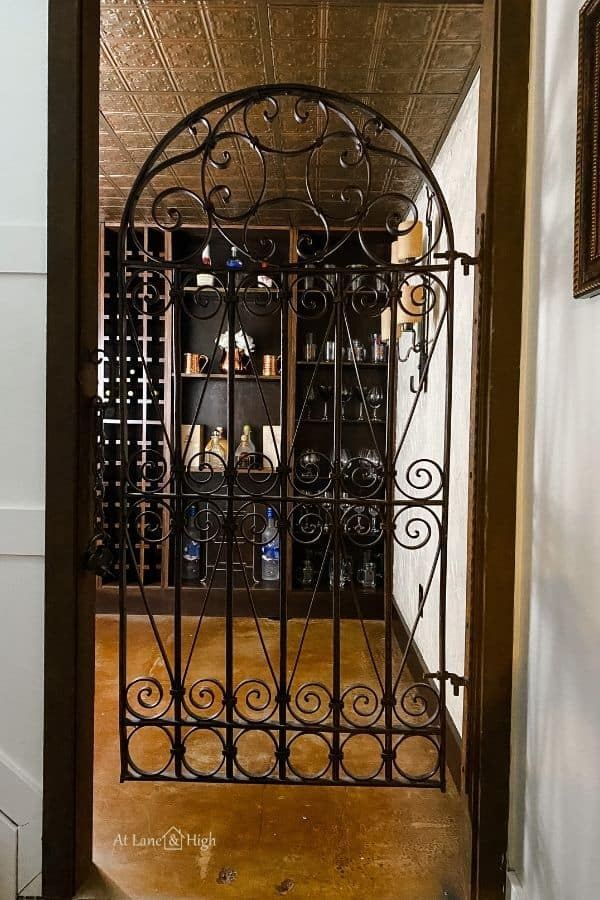The entrance to the wine cellar with the iron gate.