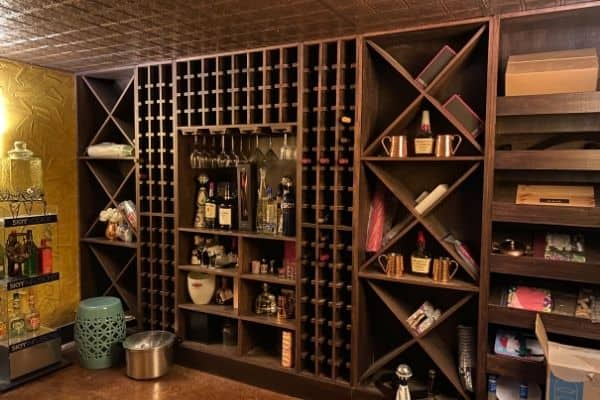 The before photo of what the wine cellar looked like with junk everywhere.