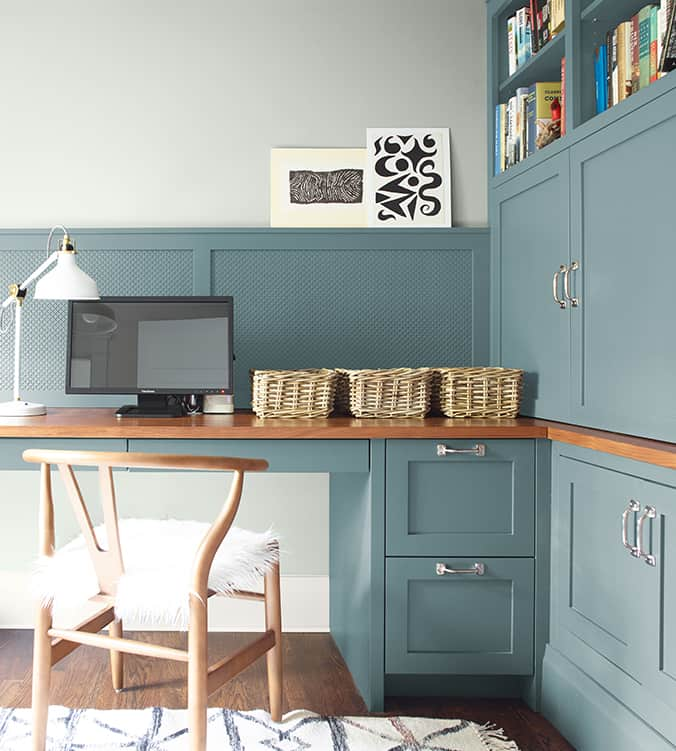 Sherwin Williams Agean Teal painted on cabinets in a home office.