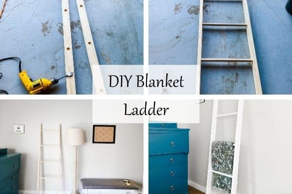 Four photos of the process of building a blanket ladder.