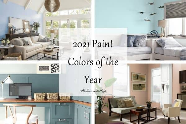 A collage of 2021 Paint Colors of the year in different room scenes.