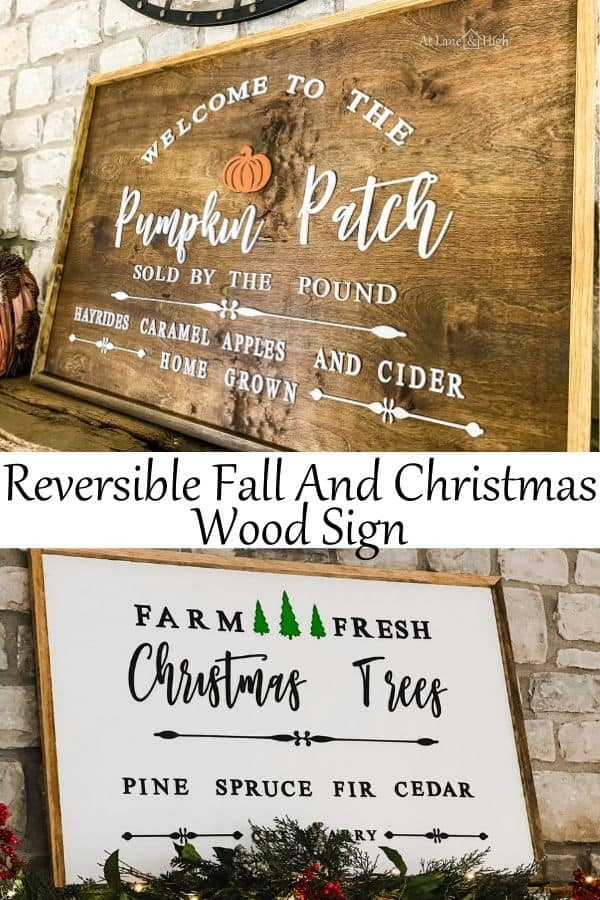 DIY Fall and Christmas Wood Sign pin for Pinterest.