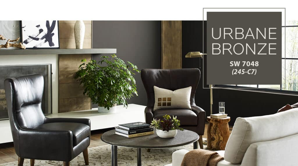 Sherwin Williams Urban Bronze painted on the walls of a family room.